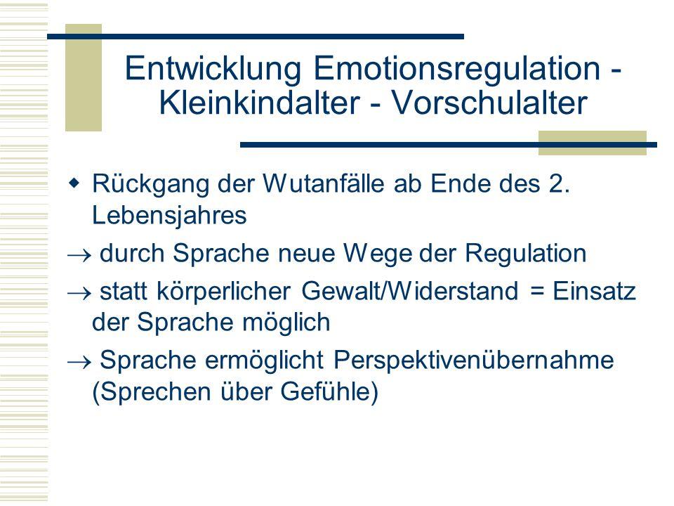 Entwicklung Emotionsregulation - Kleinkindalter - Vorschulalter Rückgang der Wutanfälle ab Ende des 2. Lebensjahres durch Sprache neue Wege der Regula