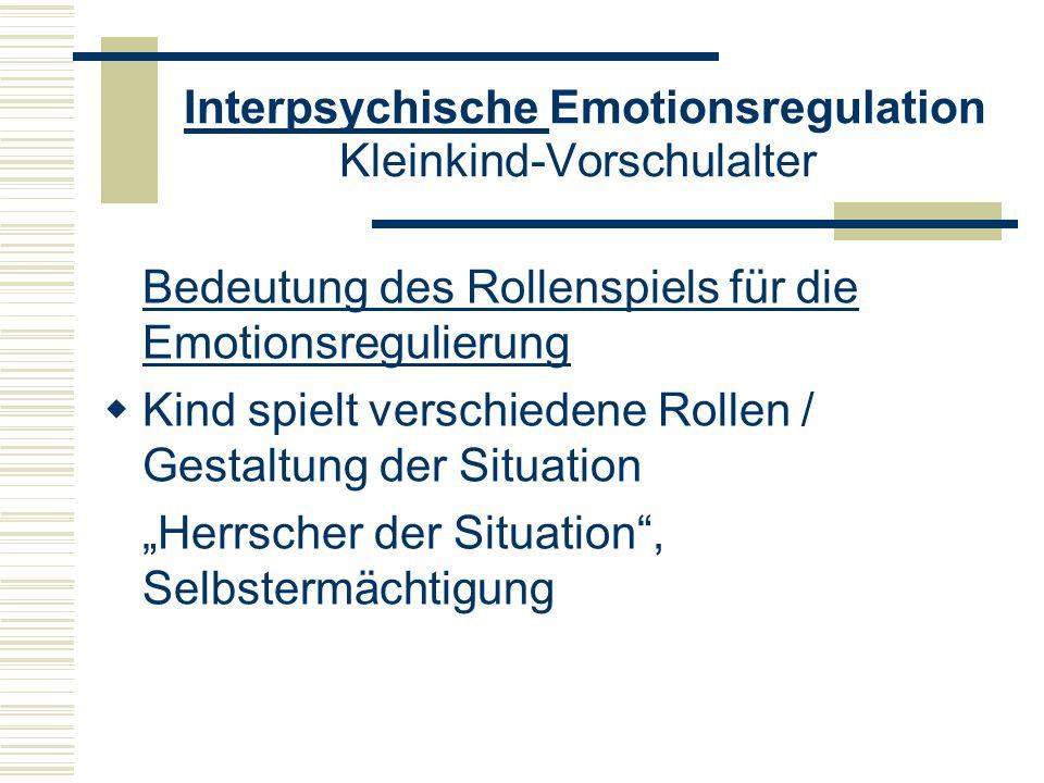Interpsychische Emotionsregulation Kleinkind-Vorschulalter Bedeutung des Rollenspiels für die Emotionsregulierung Kind spielt verschiedene Rollen / Ge