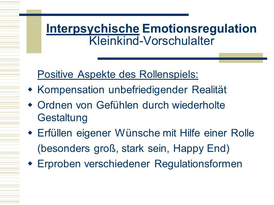 Interpsychische Emotionsregulation Kleinkind-Vorschulalter Positive Aspekte des Rollenspiels: Kompensation unbefriedigender Realität Ordnen von Gefühl