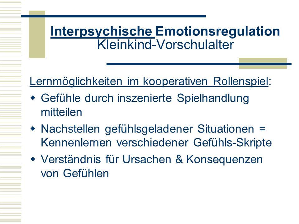 Interpsychische Emotionsregulation Kleinkind-Vorschulalter Lernmöglichkeiten im kooperativen Rollenspiel: Gefühle durch inszenierte Spielhandlung mitt