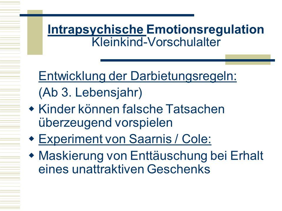 Intrapsychische Emotionsregulation Kleinkind-Vorschulalter Entwicklung der Darbietungsregeln: (Ab 3. Lebensjahr) Kinder können falsche Tatsachen überz