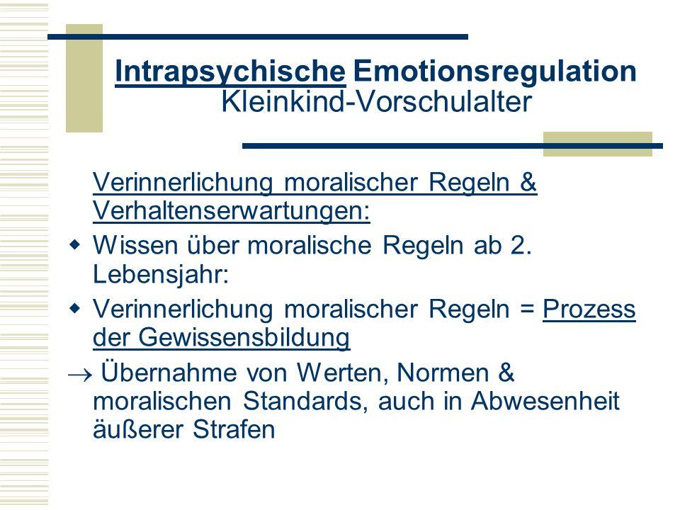 Intrapsychische Emotionsregulation Kleinkind-Vorschulalter Verinnerlichung moralischer Regeln & Verhaltenserwartungen: Wissen über moralische Regeln a