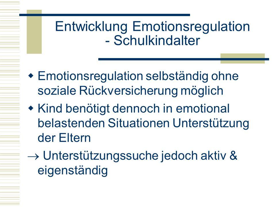 Entwicklung Emotionsregulation - Schulkindalter Emotionsregulation selbständig ohne soziale Rückversicherung möglich Kind benötigt dennoch in emotiona