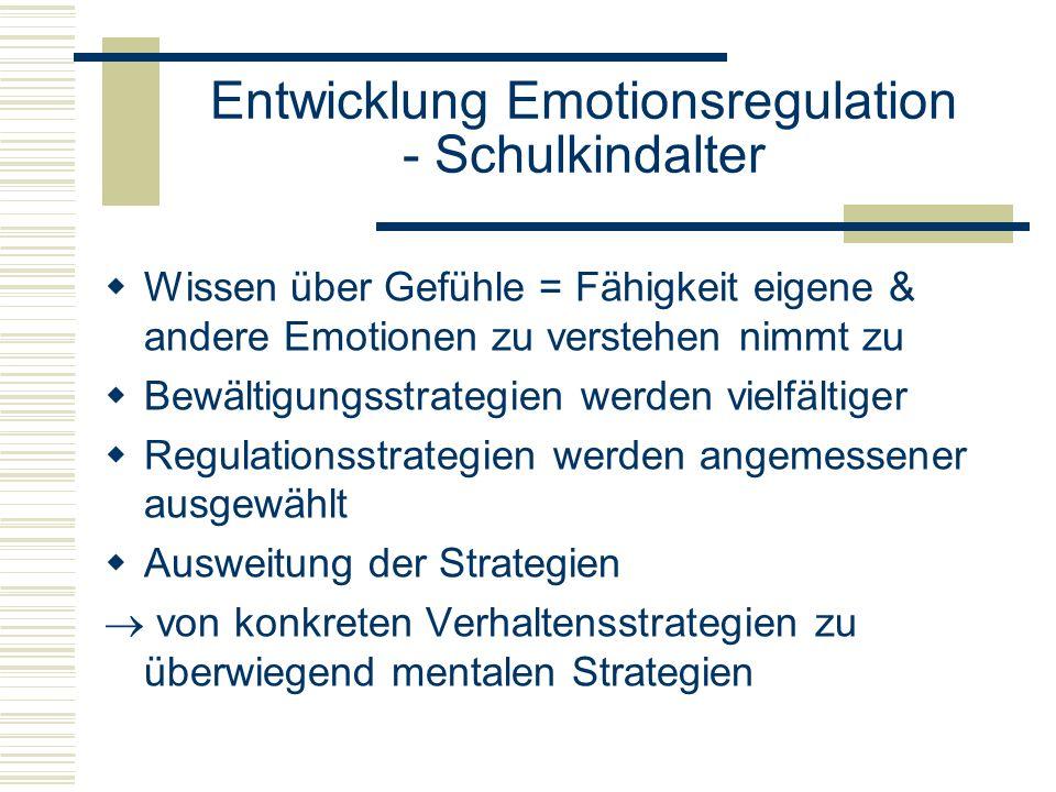 Entwicklung Emotionsregulation - Schulkindalter Wissen über Gefühle = Fähigkeit eigene & andere Emotionen zu verstehen nimmt zu Bewältigungsstrategien