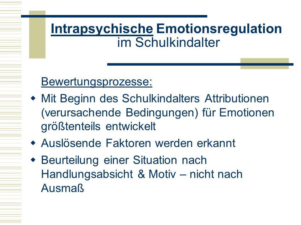 Intrapsychische Emotionsregulation im Schulkindalter Bewertungsprozesse: Mit Beginn des Schulkindalters Attributionen (verursachende Bedingungen) für