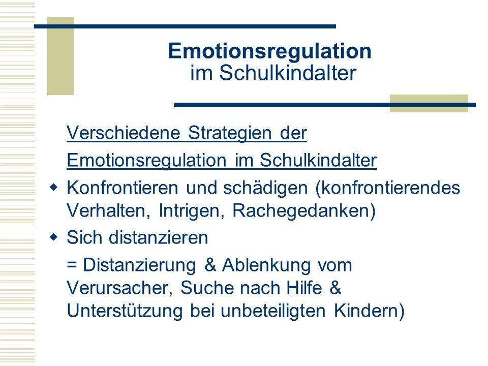 Emotionsregulation im Schulkindalter Verschiedene Strategien der Emotionsregulation im Schulkindalter Konfrontieren und schädigen (konfrontierendes Ve