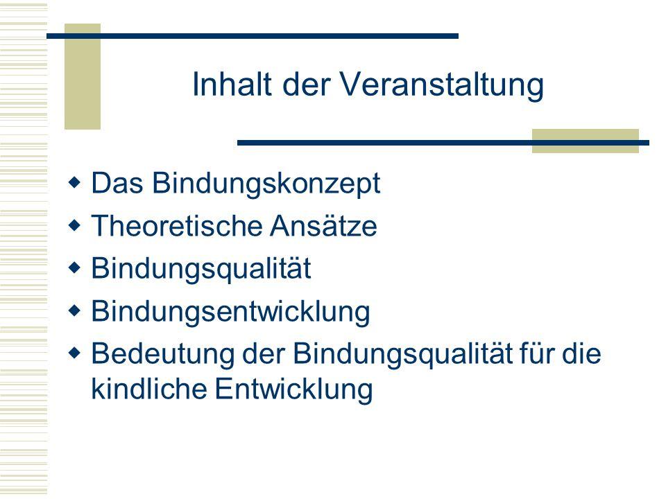 Literaturhinweise Grossmann, Klaus E.: Bindungstheorie: Modell und Entwicklungspsychologische Forschung.