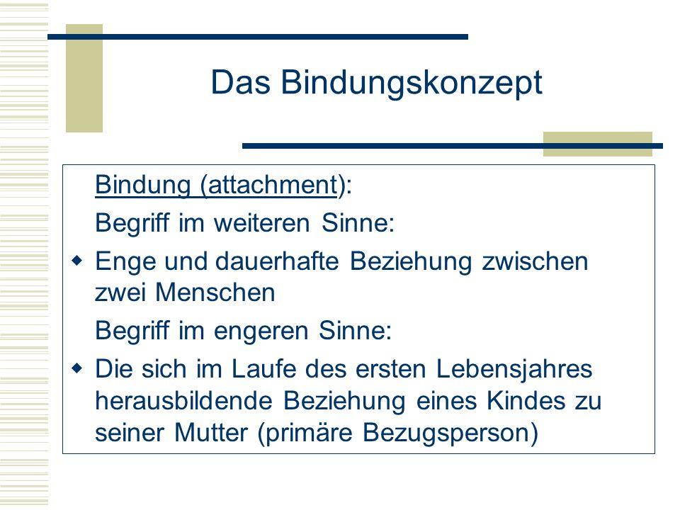 Das Bindungskonzept Bindung (attachment): Besondere Beziehung eines Kleinkindes zu seinen Eltern / ständigen Betreuungspersonen.