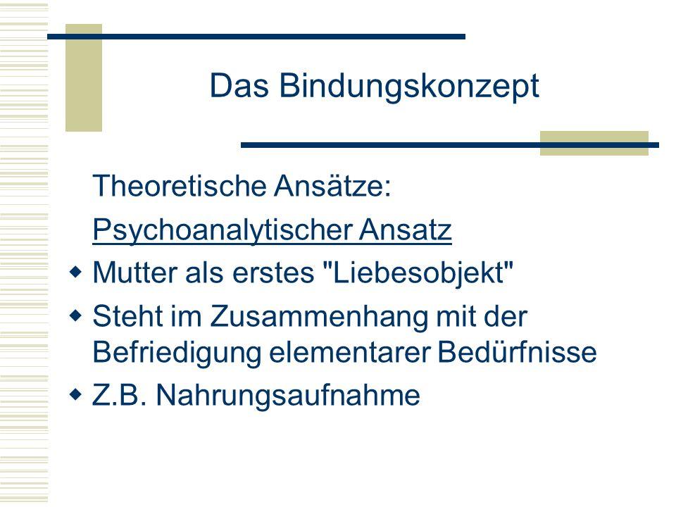 Das Bindungskonzept Lerntheoretischer Ansatz Mutter als diskriminativer Verstärker und Modell Ethologischer Ansatz Ethologie = vergleichende Verhaltensforschung