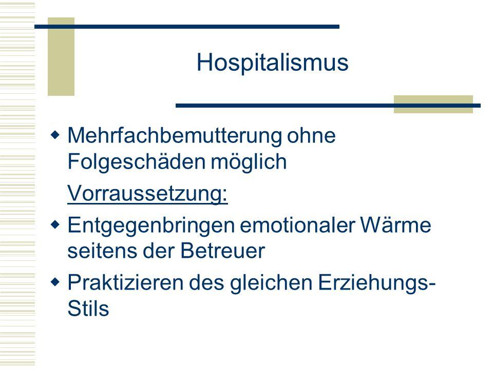Hospitalismus Mehrfachbemutterung ohne Folgeschäden möglich Vorraussetzung: Entgegenbringen emotionaler Wärme seitens der Betreuer Praktizieren des gleichen Erziehungs- Stils