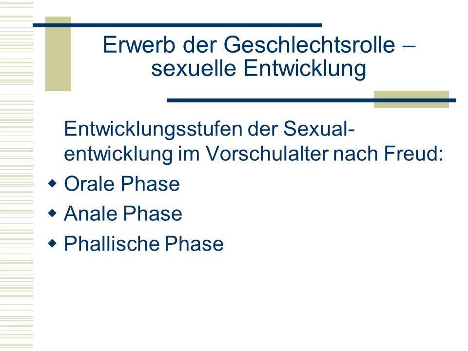 Erwerb der Geschlechtsrolle – sexuelle Entwicklung Entwicklungsstufen der Sexual- entwicklung im Vorschulalter nach Freud: Orale Phase Anale Phase Phallische Phase