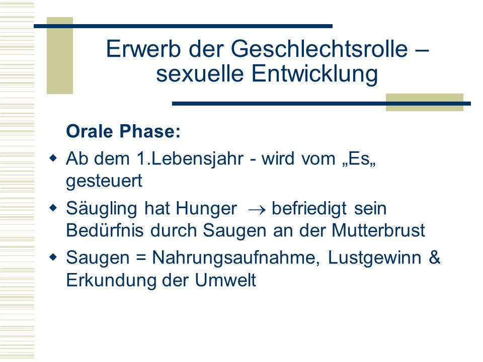 Erwerb der Geschlechtsrolle – sexuelle Entwicklung Orale Phase: Ab dem 1.Lebensjahr - wird vom Es gesteuert Säugling hat Hunger befriedigt sein Bedürfnis durch Saugen an der Mutterbrust Saugen = Nahrungsaufnahme, Lustgewinn & Erkundung der Umwelt