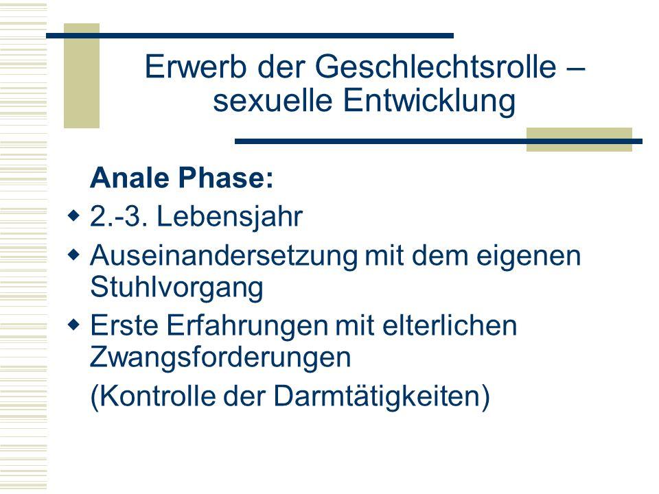 Erwerb der Geschlechtsrolle – sexuelle Entwicklung Anale Phase: 2.-3.