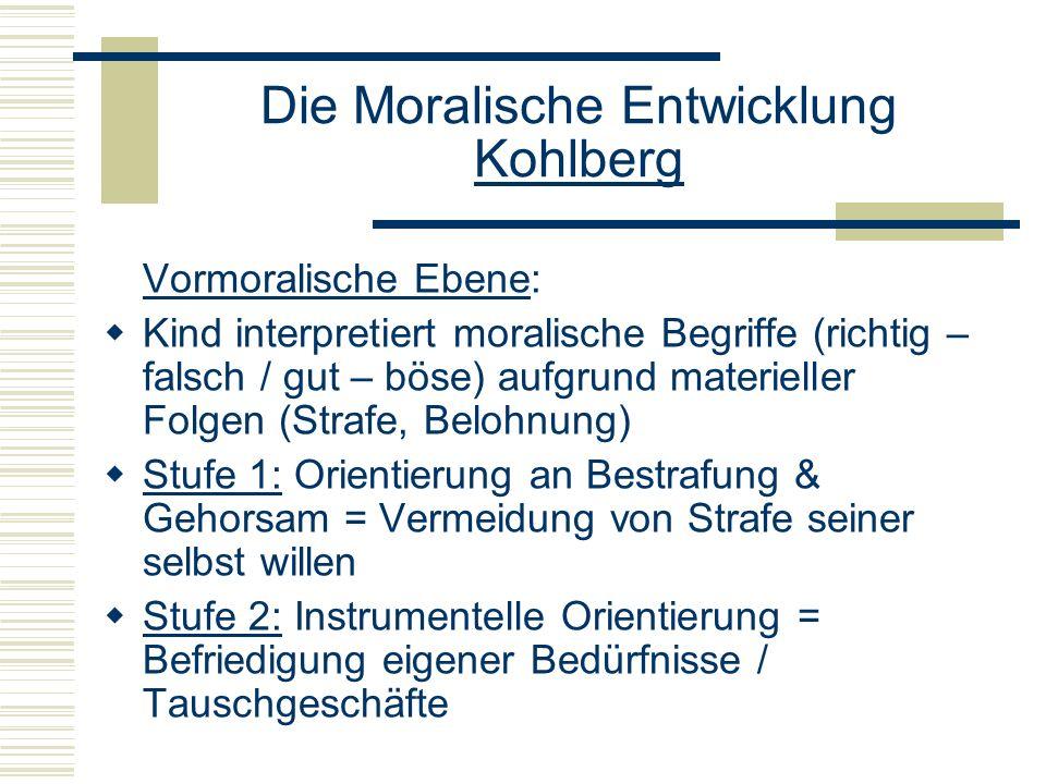 Die Moralische Entwicklung Kohlberg Vormoralische Ebene: Kind interpretiert moralische Begriffe (richtig – falsch / gut – böse) aufgrund materieller Folgen (Strafe, Belohnung) Stufe 1: Orientierung an Bestrafung & Gehorsam = Vermeidung von Strafe seiner selbst willen Stufe 2: Instrumentelle Orientierung = Befriedigung eigener Bedürfnisse / Tauschgeschäfte
