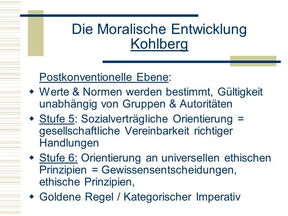 Die Moralische Entwicklung Kohlberg Postkonventionelle Ebene: Werte & Normen werden bestimmt, Gültigkeit unabhängig von Gruppen & Autoritäten Stufe 5: Sozialverträgliche Orientierung = gesellschaftliche Vereinbarkeit richtiger Handlungen Stufe 6: Orientierung an universellen ethischen Prinzipien = Gewissensentscheidungen, ethische Prinzipien, Goldene Regel / Kategorischer Imperativ