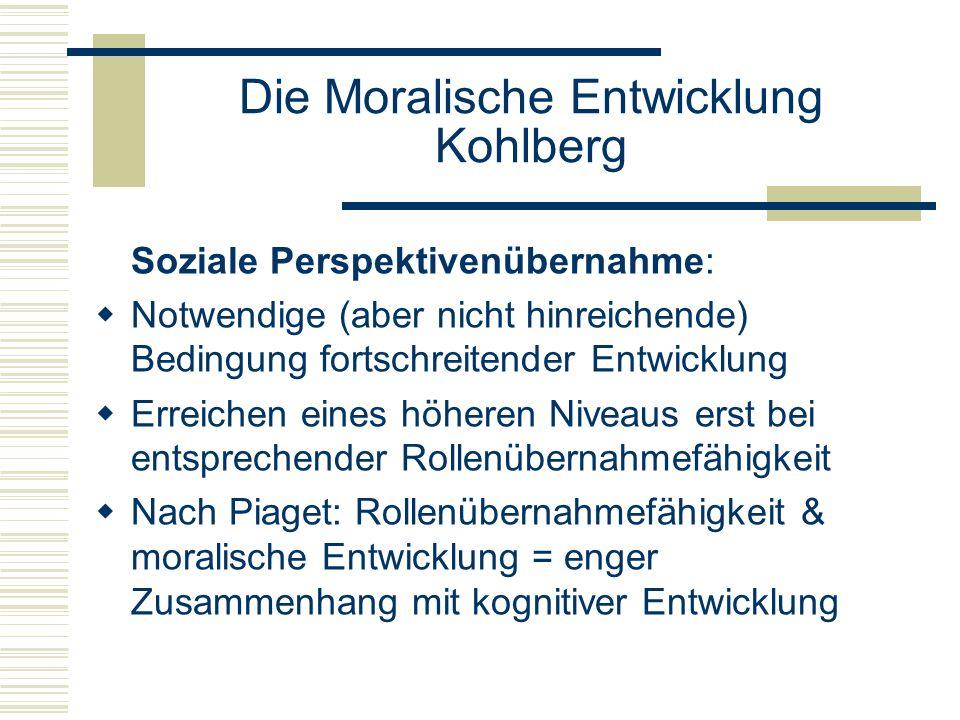 Die Moralische Entwicklung Kohlberg Soziale Perspektivenübernahme: Notwendige (aber nicht hinreichende) Bedingung fortschreitender Entwicklung Erreichen eines höheren Niveaus erst bei entsprechender Rollenübernahmefähigkeit Nach Piaget: Rollenübernahmefähigkeit & moralische Entwicklung = enger Zusammenhang mit kognitiver Entwicklung