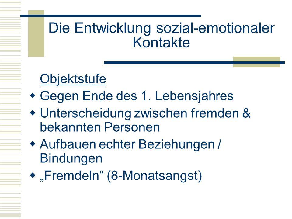 Die Entwicklung sozial-emotionaler Kontakte Objektstufe Gegen Ende des 1.