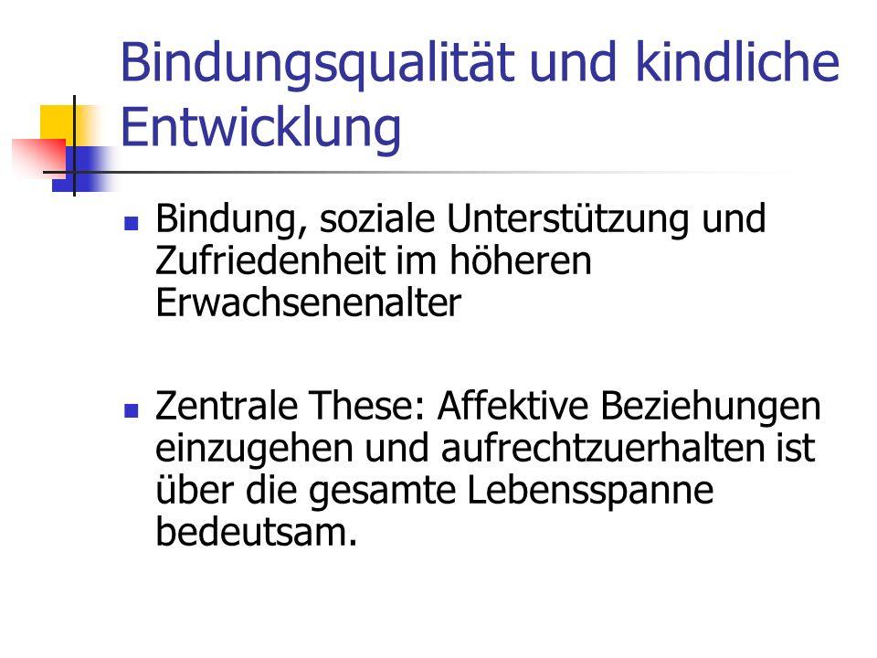 Bindungsqualität und kindliche Entwicklung Regensburger Längsschnittstudie (AAI) (Untersuchung zur Bindungsrepräsentation im Alter) - mit 48 älteren Personen wurde das Bindungsinterview für Erwachsene durchgeführt.