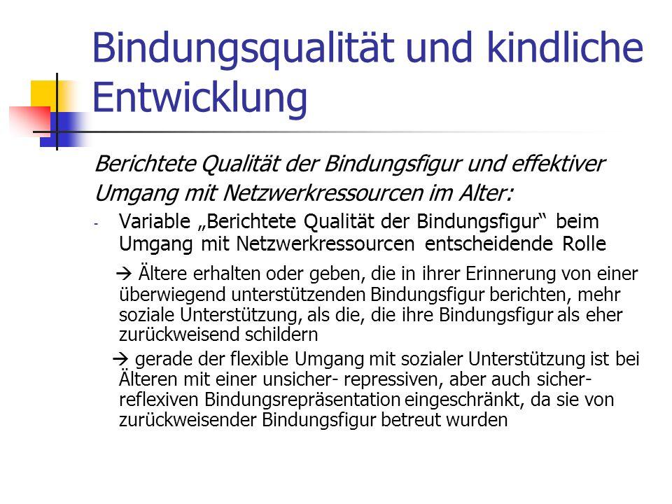 Bindungsqualität und kindliche Entwicklung Berichtete Qualität der Bindungsfigur und effektiver Umgang mit Netzwerkressourcen im Alter: - Variable Ber