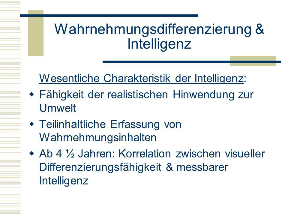 Wahrnehmungsdifferenzierung & Intelligenz Wesentliche Charakteristik der Intelligenz: Fähigkeit der realistischen Hinwendung zur Umwelt Teilinhaltlich