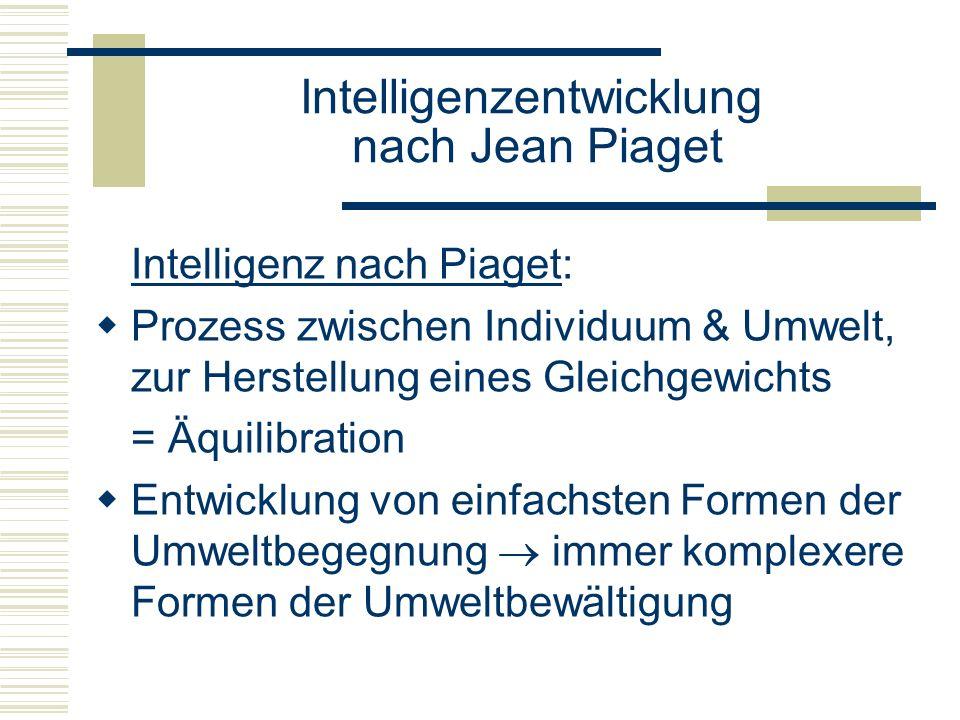 Intelligenzentwicklung nach Jean Piaget Intelligenz nach Piaget: Prozess zwischen Individuum & Umwelt, zur Herstellung eines Gleichgewichts = Äquilibr