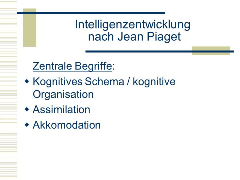 Intelligenzentwicklung nach Jean Piaget Assimilation: Aufnahme eines Gegenstandes in geistiges Schema (Rassel wird gegriffen = Assimilation der Rassel in das Greifschema) Akkomodation: Anpassung der Schemata in die Wirklichkeit (Struktur des Greifens muss an den zu greifenden Gegenstand angepasst werden)