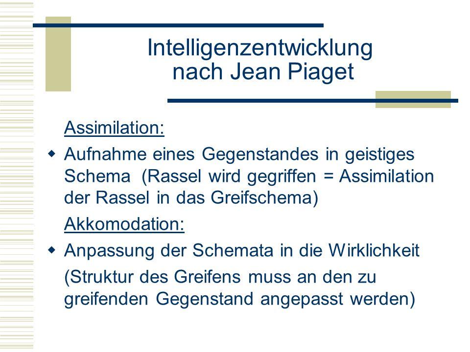 Intelligenzentwicklung nach Jean Piaget Assimilation: Aufnahme eines Gegenstandes in geistiges Schema (Rassel wird gegriffen = Assimilation der Rassel