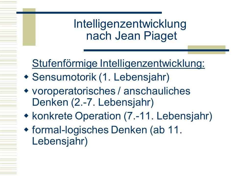 Stufenförmige Intelligenzentwicklung: Sensumotorik (1. Lebensjahr) voroperatorisches / anschauliches Denken (2.-7. Lebensjahr) konkrete Operation (7.-