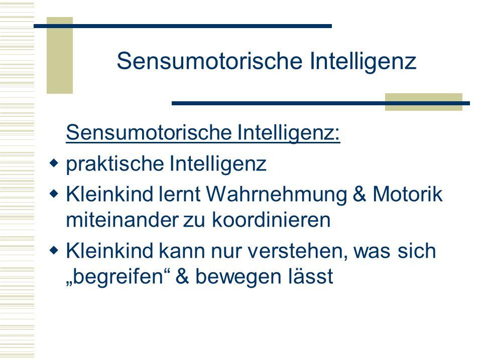 Sensumotorische Intelligenz Sensumotorische Intelligenz: praktische Intelligenz Kleinkind lernt Wahrnehmung & Motorik miteinander zu koordinieren Klei