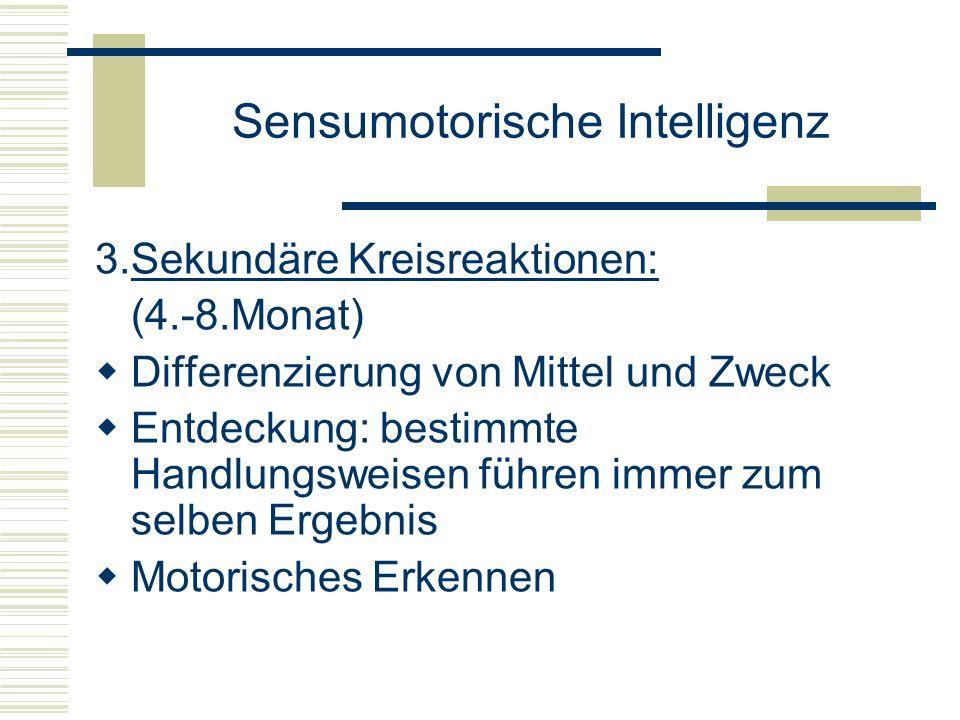 Sensumotorische Intelligenz 3.Sekundäre Kreisreaktionen: (4.-8.Monat) Differenzierung von Mittel und Zweck Entdeckung: bestimmte Handlungsweisen führe