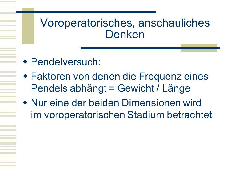 Pendelversuch: Faktoren von denen die Frequenz eines Pendels abhängt = Gewicht / Länge Nur eine der beiden Dimensionen wird im voroperatorischen Stadi