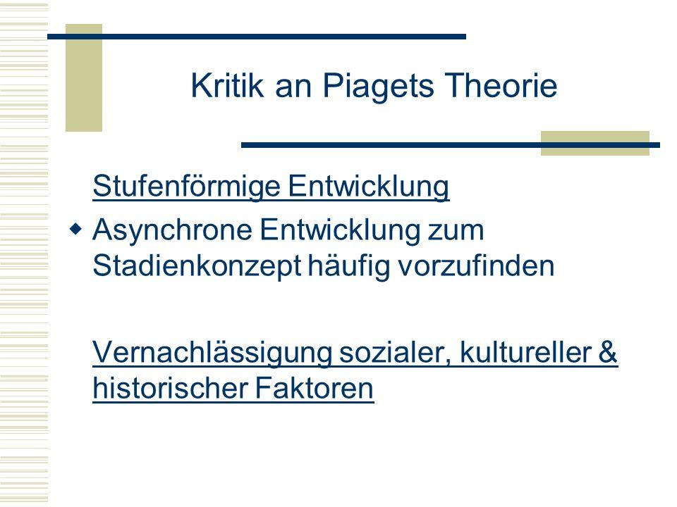 Kritik an Piagets Theorie Stufenförmige Entwicklung Asynchrone Entwicklung zum Stadienkonzept häufig vorzufinden Vernachlässigung sozialer, kulturelle