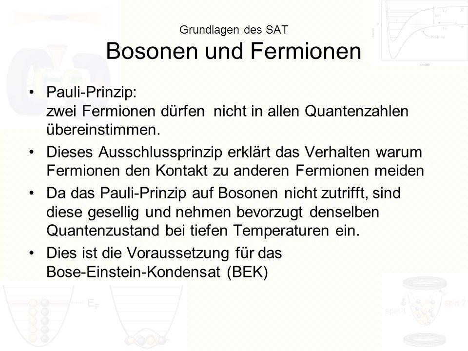 Grundlagen des SAT Bosonen und Fermionen Pauli-Prinzip: zwei Fermionen dürfen nicht in allen Quantenzahlen übereinstimmen. Dieses Ausschlussprinzip er