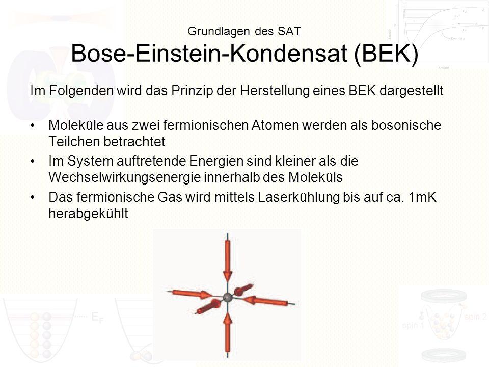 Grundlagen des SAT Bose-Einstein-Kondensat (BEK) Moleküle aus zwei fermionischen Atomen werden als bosonische Teilchen betrachtet Im System auftretend