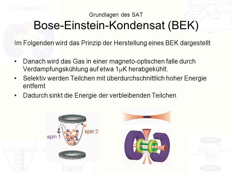 Grundlagen des SAT Bose-Einstein-Kondensat (BEK) Danach wird das Gas in einer magneto-optischen falle durch Verdampfungskühlung auf etwa 1 K herabgekü