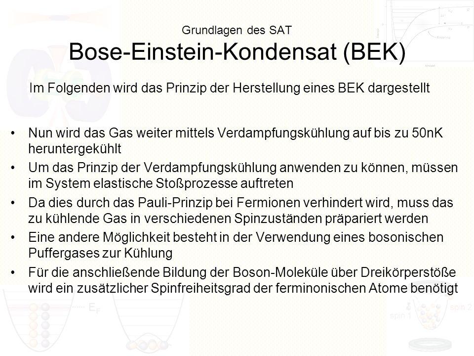 Grundlagen des SAT Bose-Einstein-Kondensat (BEK) Nun wird das Gas weiter mittels Verdampfungskühlung auf bis zu 50nK heruntergekühlt Um das Prinzip de