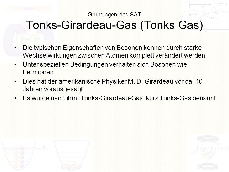 Grundlagen des SAT Tonks-Girardeau-Gas (Tonks Gas) Die typischen Eigenschaften von Bosonen können durch starke Wechselwirkungen zwischen Atomen komple