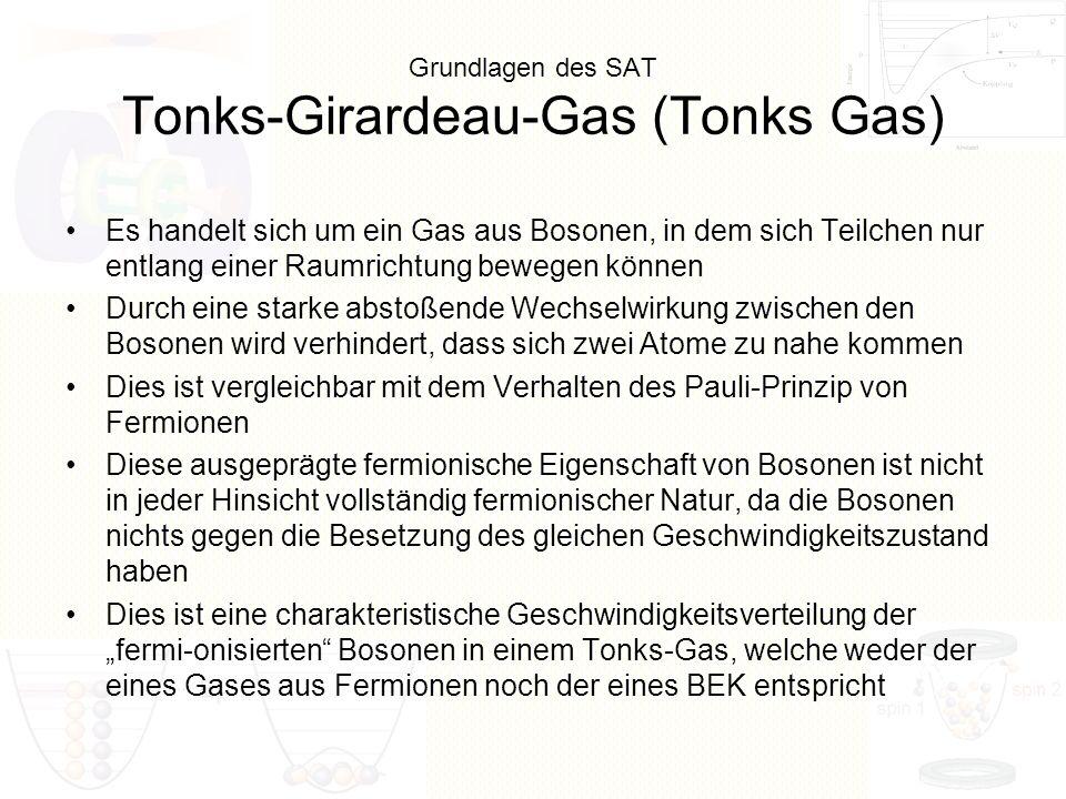 Grundlagen des SAT Tonks-Girardeau-Gas (Tonks Gas) Es handelt sich um ein Gas aus Bosonen, in dem sich Teilchen nur entlang einer Raumrichtung bewegen