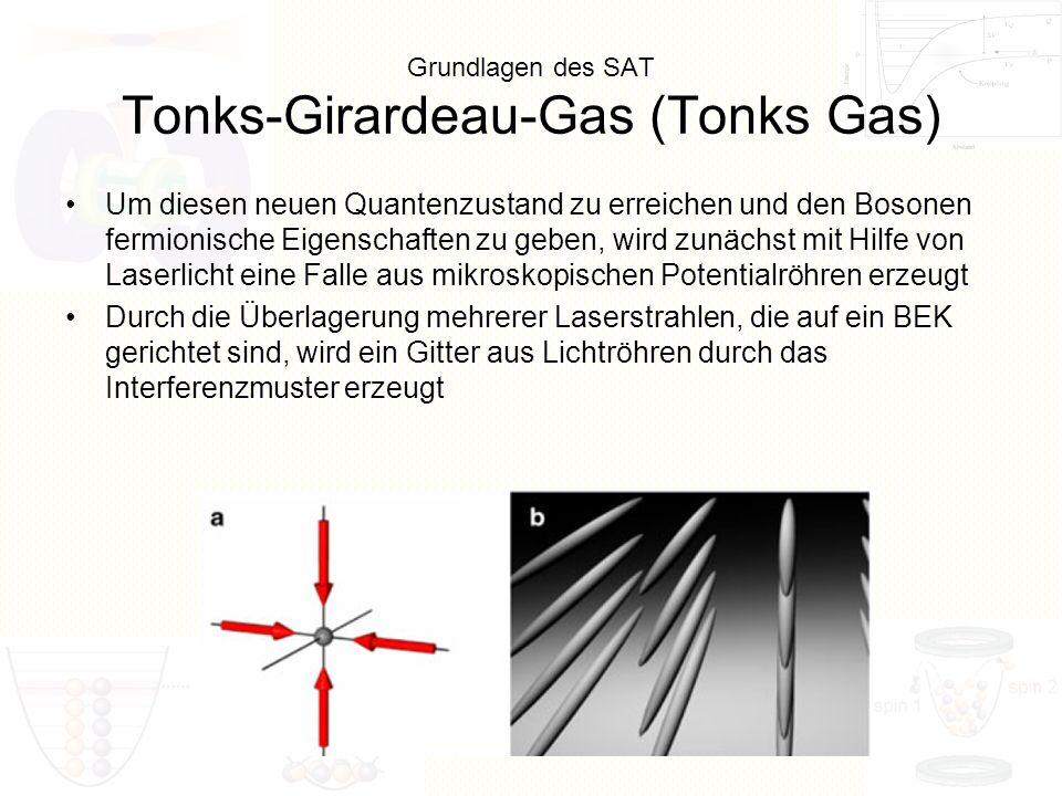 Grundlagen des SAT Tonks-Girardeau-Gas (Tonks Gas) Um diesen neuen Quantenzustand zu erreichen und den Bosonen fermionische Eigenschaften zu geben, wi