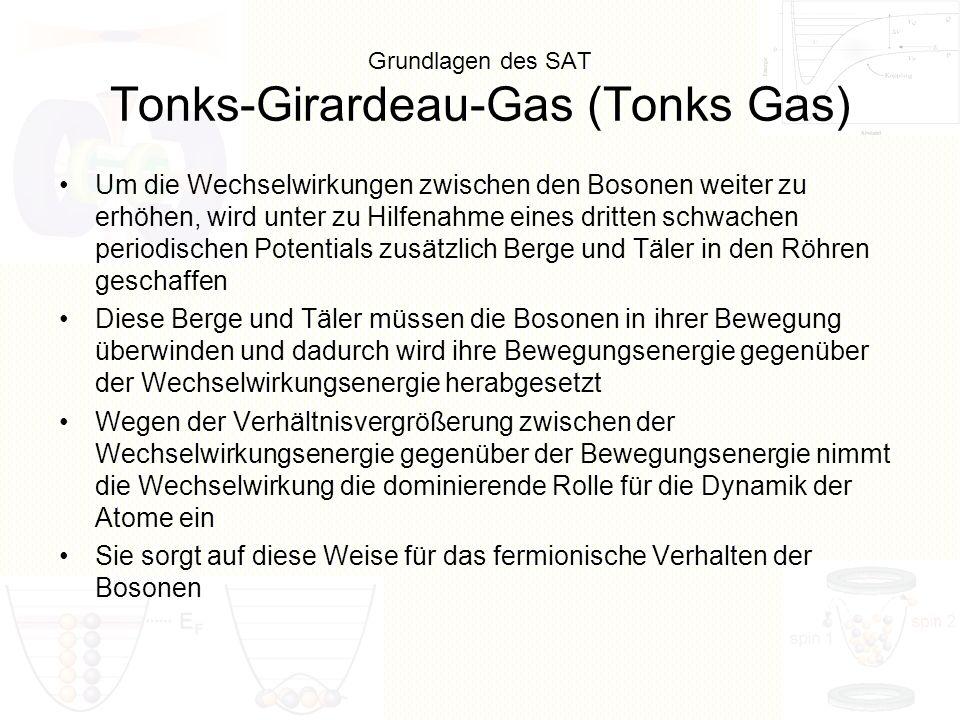 Grundlagen des SAT Tonks-Girardeau-Gas (Tonks Gas) Um die Wechselwirkungen zwischen den Bosonen weiter zu erhöhen, wird unter zu Hilfenahme eines drit