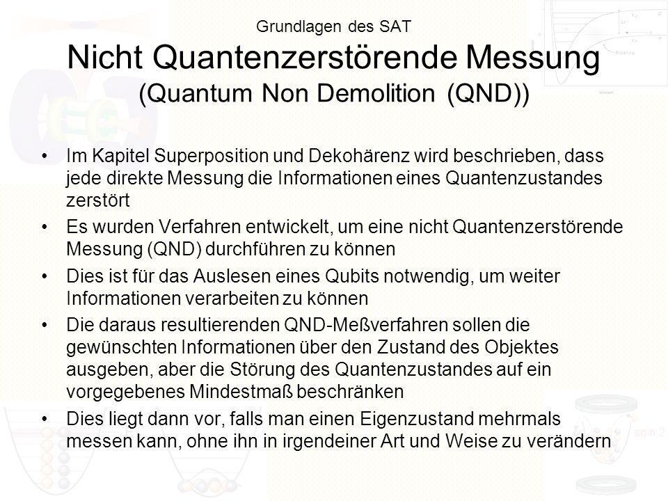 Grundlagen des SAT Nicht Quantenzerstörende Messung (Quantum Non Demolition (QND)) Im Kapitel Superposition und Dekohärenz wird beschrieben, dass jede