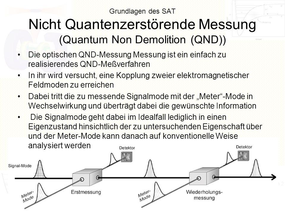 Grundlagen des SAT Nicht Quantenzerstörende Messung (Quantum Non Demolition (QND)) Die optischen QND-Messung Messung ist ein einfach zu realisierendes