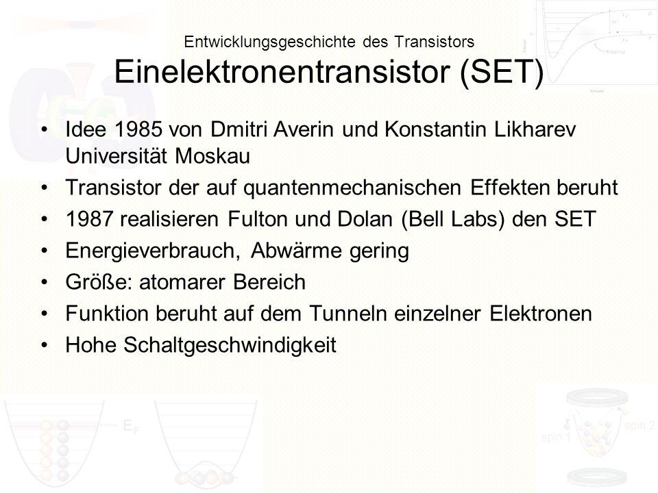 Entwicklungsgeschichte des Transistors Einelektronentransistor (SET) Idee 1985 von Dmitri Averin und Konstantin Likharev Universität Moskau Transistor