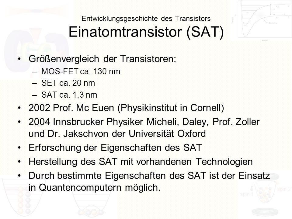 Entwicklungsgeschichte des Transistors Einatomtransistor (SAT) Größenvergleich der Transistoren: –MOS-FET ca. 130 nm –SET ca. 20 nm –SAT ca. 1,3 nm 20
