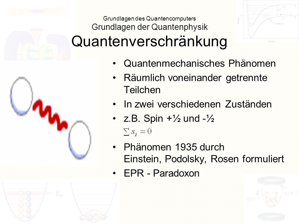 Grundlagen des SAT Nicht Quantenzerstörende Messung (Quantum Non Demolition (QND)) Eine ideale Messung ist bis heute aber praktisch nicht durchführbar Die meisten Experimente bedienen sich eines nichtlinearen Prozesses, der die Information vom Signal auf den Sonderzustand überträgt Dabei werden die quantenmechanischen Zustände miteinander verschränkt Bezüglich des informationsextrahierenden Mechanismus liegt eine Ähnlichkeit zur Quantenteleportation vor Von besonderer Bedeutung ist eine minimale Rückwirkung aber auch im Fall des Quantencomputers Mit einer QND-Messung wäre es möglich beispielsweise unerwünschte Quantensprünge im Register des Computers festzustellen, ohne das dieses seine Kohärenz verliert, die ja für eine Quantenrechnung unabdingbar ist