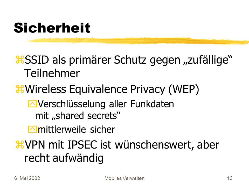 6. Mai 2002Mobiles Verwalten13 Sicherheit zSSID als primärer Schutz gegen zufällige Teilnehmer zWireless Equivalence Privacy (WEP) yVerschlüsselung al