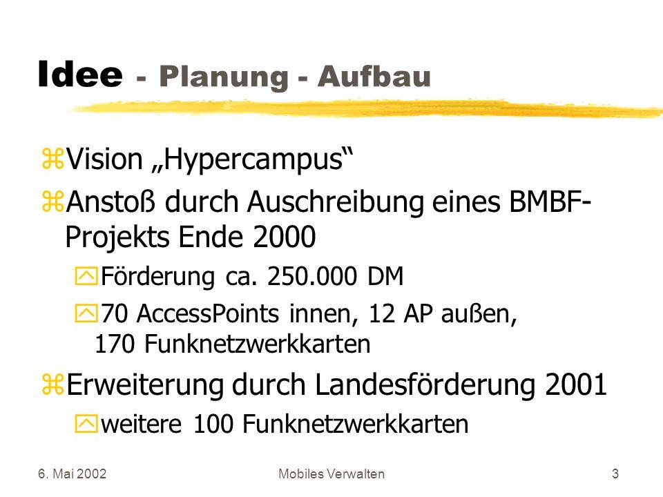 6. Mai 2002Mobiles Verwalten3 Idee - Planung - Aufbau zVision Hypercampus zAnstoß durch Auschreibung eines BMBF- Projekts Ende 2000 yFörderung ca. 250