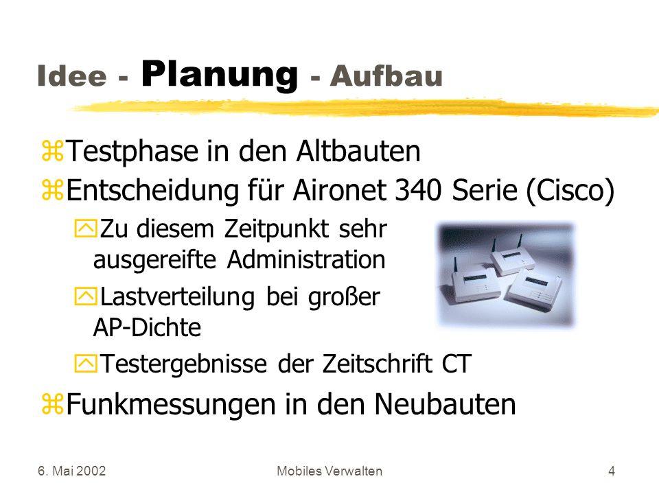 6. Mai 2002Mobiles Verwalten4 zTestphase in den Altbauten zEntscheidung für Aironet 340 Serie (Cisco) yZu diesem Zeitpunkt sehr ausgereifte Administra