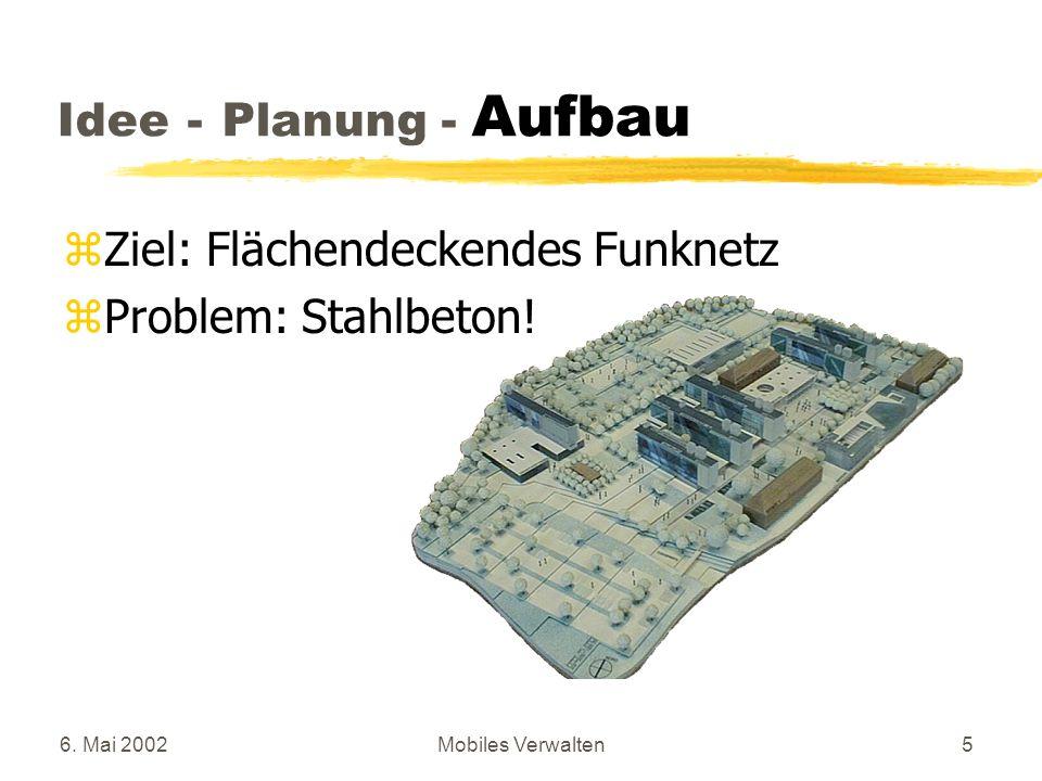 6. Mai 2002Mobiles Verwalten5 zZiel: Flächendeckendes Funknetz zProblem: Stahlbeton! Idee - Planung - Aufbau