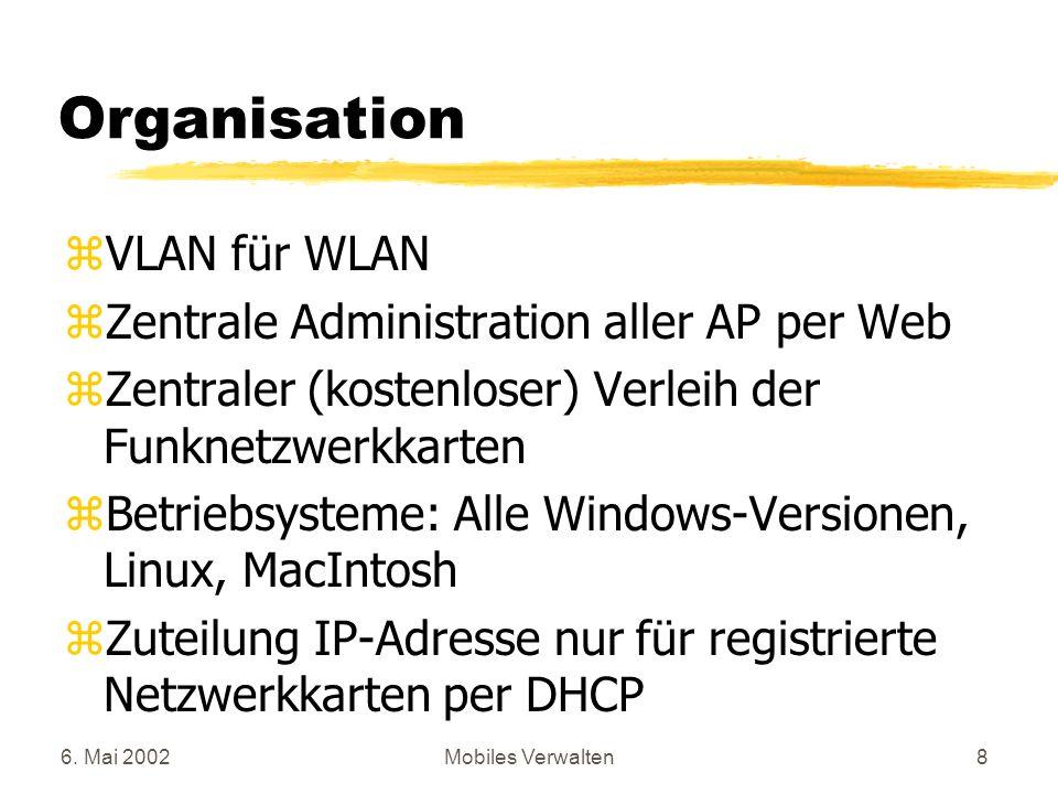 6. Mai 2002Mobiles Verwalten8 Organisation zVLAN für WLAN zZentrale Administration aller AP per Web zZentraler (kostenloser) Verleih der Funknetzwerkk